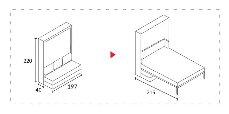 ขนาดเตียงพับ Urbano ขนาด 6 ฟุต + Sofa