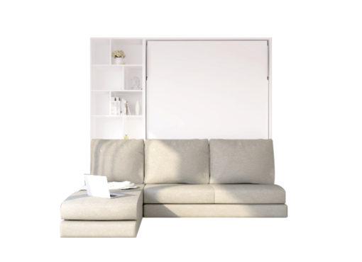 เตียงพับติดผนัง รุ่น Rester 6' SOFA L-Shape + ตู้ข้าง ตอนพับเตียงเก็บ