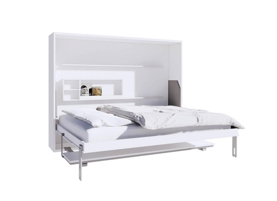 เตียงพับติดผนัง รุ่น Maxio ขนาด 5 ฟุต + โต๊ะทำงาน กางเตียง
